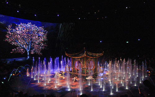 The House of Dancing Water is a water-based stage production written and directed by Franco Dragone. The show, which was the second water show by Franco Dragone company, premiered in September 2010.